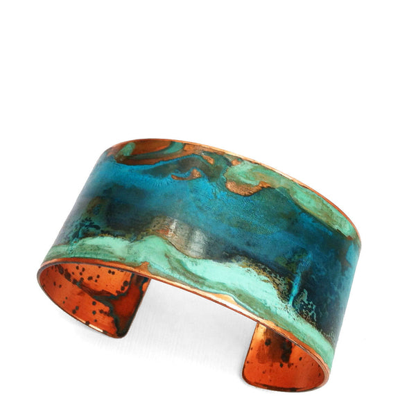 Melissa Lowery wide verdigris copper cuff