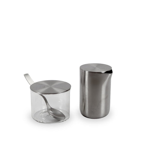 Small cylindrical sugar pot and creamer