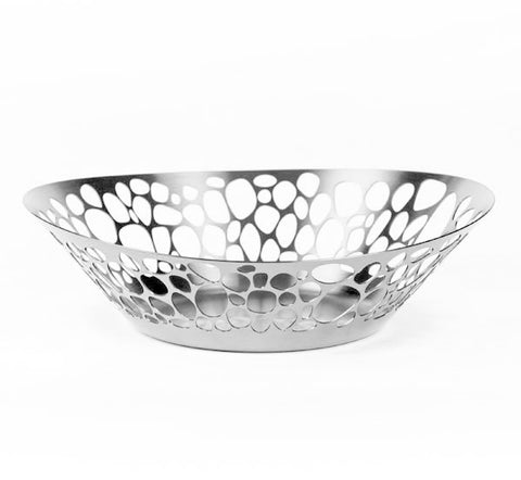 Stainless steel bread basket with stone cutouts