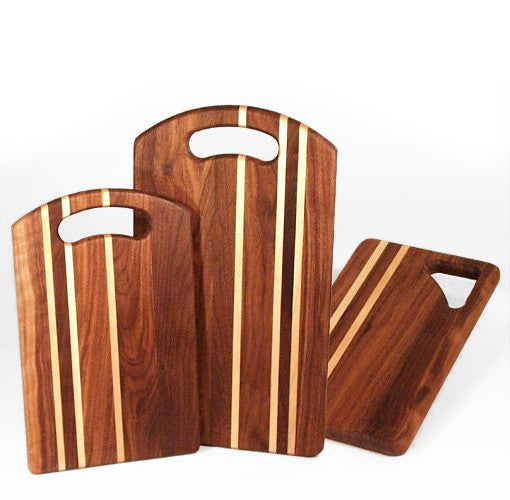 Walnut cutting boards with birch stripes