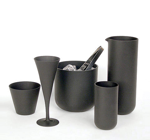 Sugahara Black matte glass champagne flute