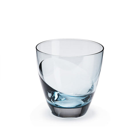 Sugahara Cascade Indigo two-tone fused old fashioned glass
