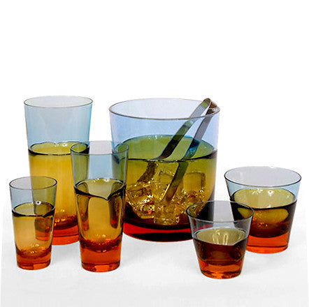 Sugahara Duo Blue-Amber medium two-tone fused glass highball/tumbler