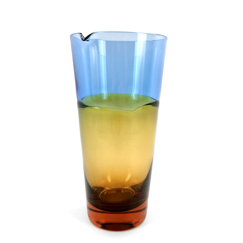 Sugahara Duo Blue-Amber two-tone fused glass pitcher