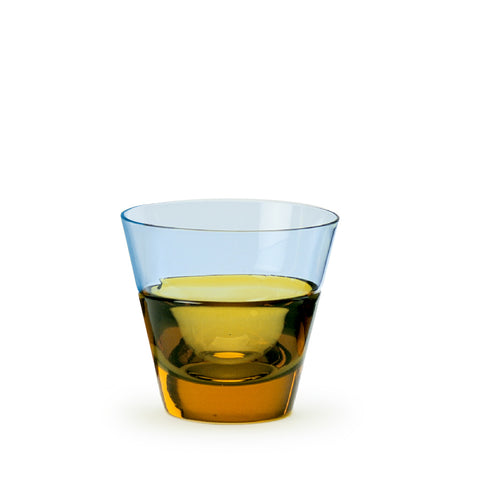 Sugahara Duo Blue-Amber two-tone fused sake glass