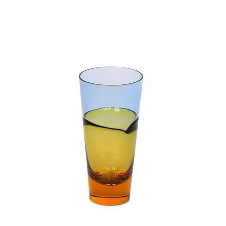 Sugahara Duo Blue-Amber small two-tone fused glass highball/tumbler