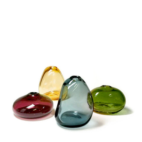 Sugahara glass river stone mini vases