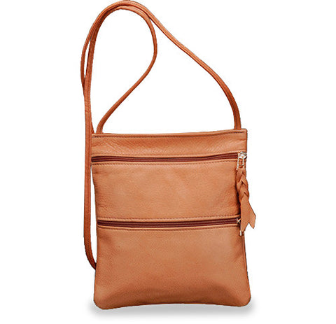 Sven small three-zip leather crossbody bag