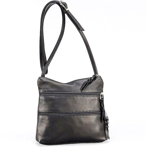 Sven multi-zip leather crossbody bag