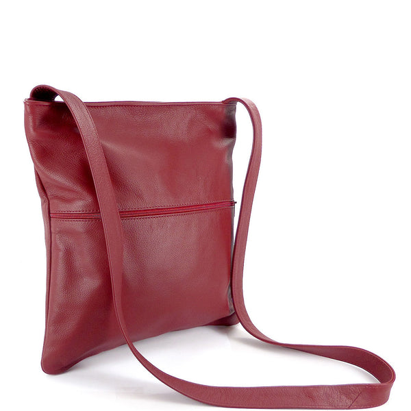 Sven lightweight vertical leather crossbody bag
