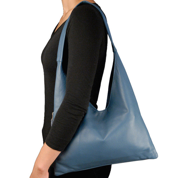 Sven V-top leather hobo with phone pocket