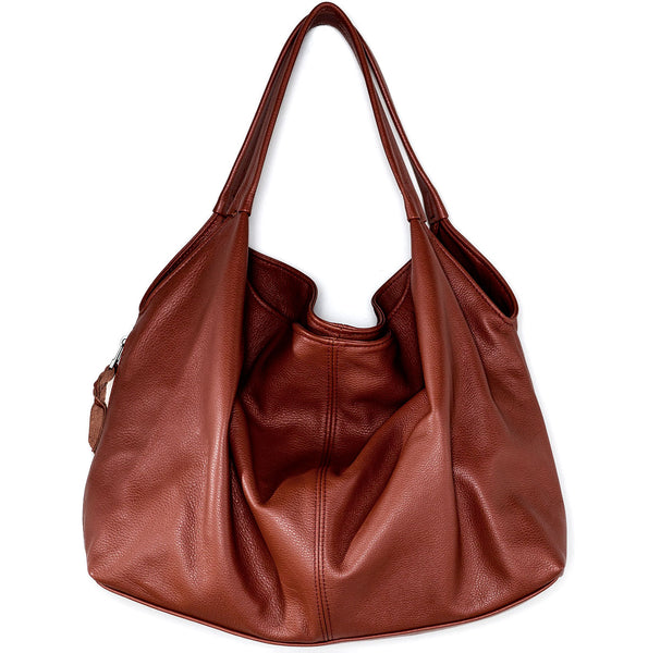 Sven draped leather double strap hobo