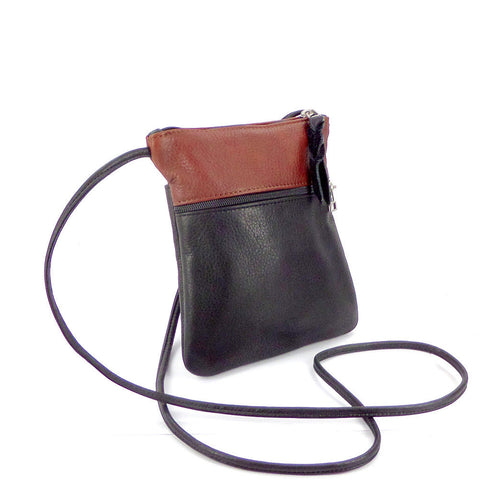 Sven colorblock mini 2-zip leather crossbody bag