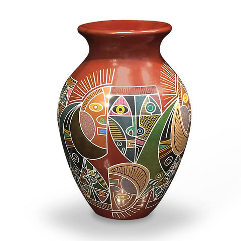 Colorful modern graphic etched ceramic vessel, tall