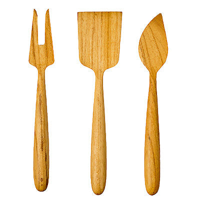 Teak cheese tools, set of 3