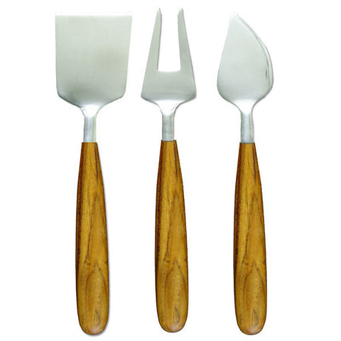 Teak and stainless cheese tools, set of 3
