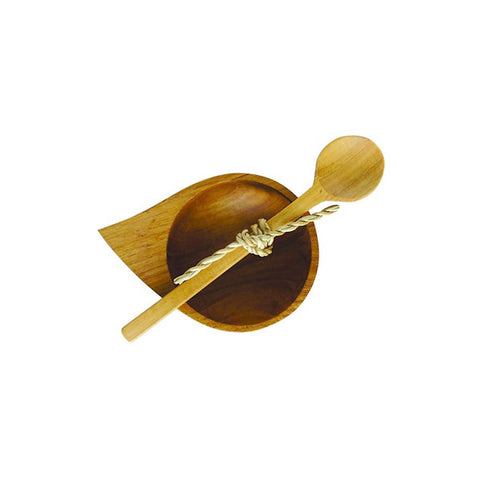 Teardrop teak salt server with spoon