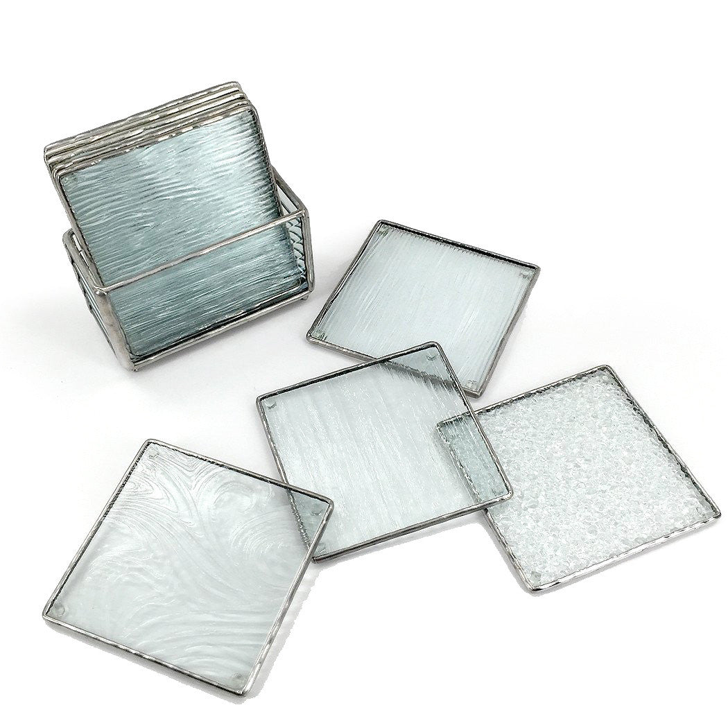 textured glass coasters set of   terrestra - textured glass coasters set of