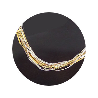 Silver and gold vermeil fine tubes-and-chains bracelet