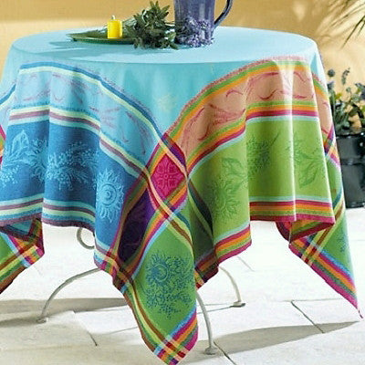 Classic French jacquard linens in turquoise