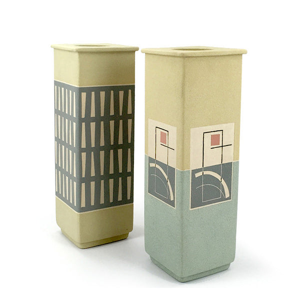 Square ceramic geo vases