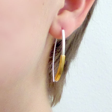 Silver and gold vermeil square tubes earrings