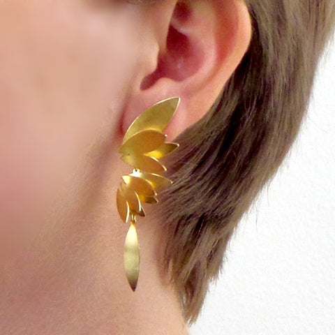 Angel wing silver or gold vermeil long earrings