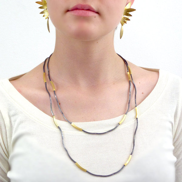 Silver and gold vermeil square tubes long layering necklace