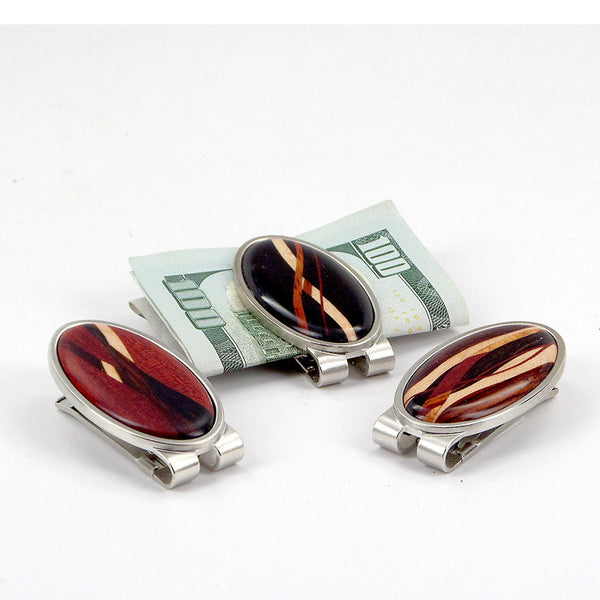 Money clip with wood inlays