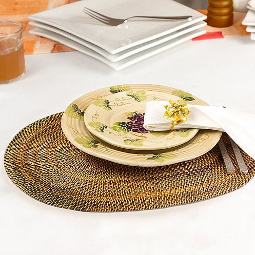 Round woven rattan placemats, set of 4