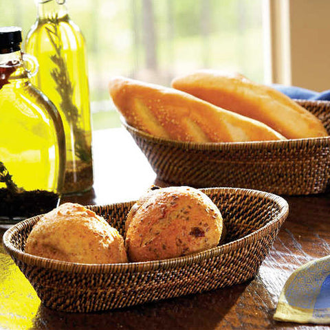 Woven rattan oval bread baskets with rolled edge