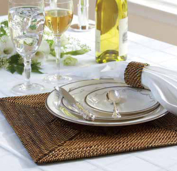 Square woven rattan placemats, set of 4