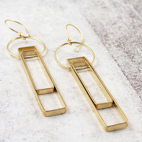 Long open double rectangle earrings
