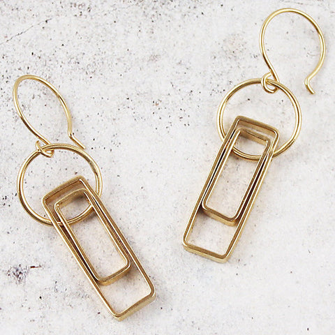Short open double rectangle earrings