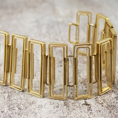 Linked open rectangle bracelet