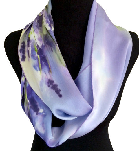 Hand-painted lavender silk infinity scarf