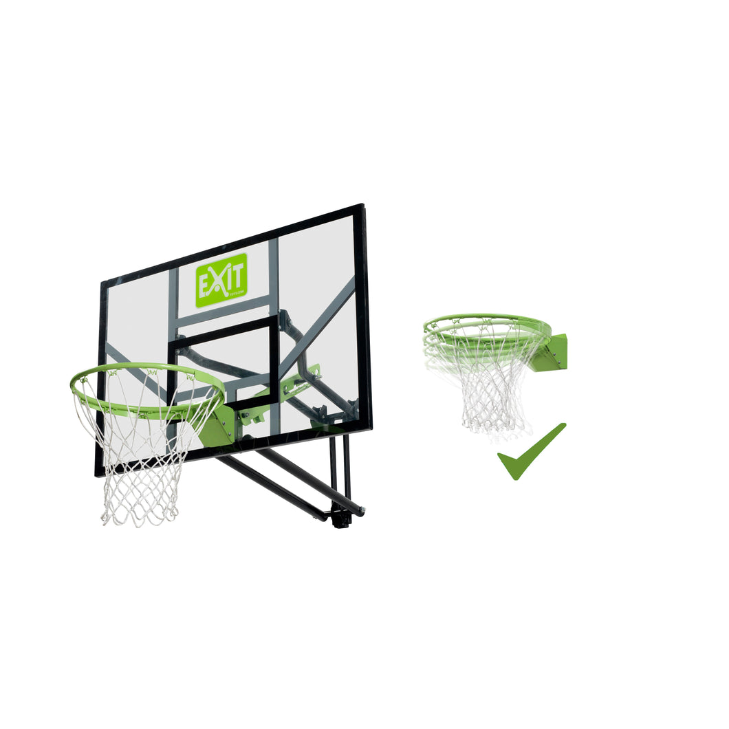 EXIT Galaxy wall-mounted basketball backboard with dunk hoop - green/black