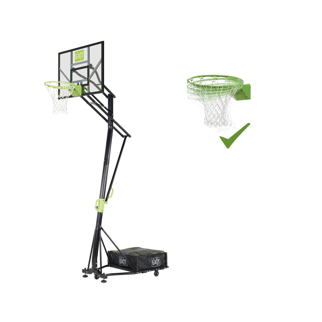 EXIT Galaxy portable basketball backboard on wheels with dunk hoop - green/black