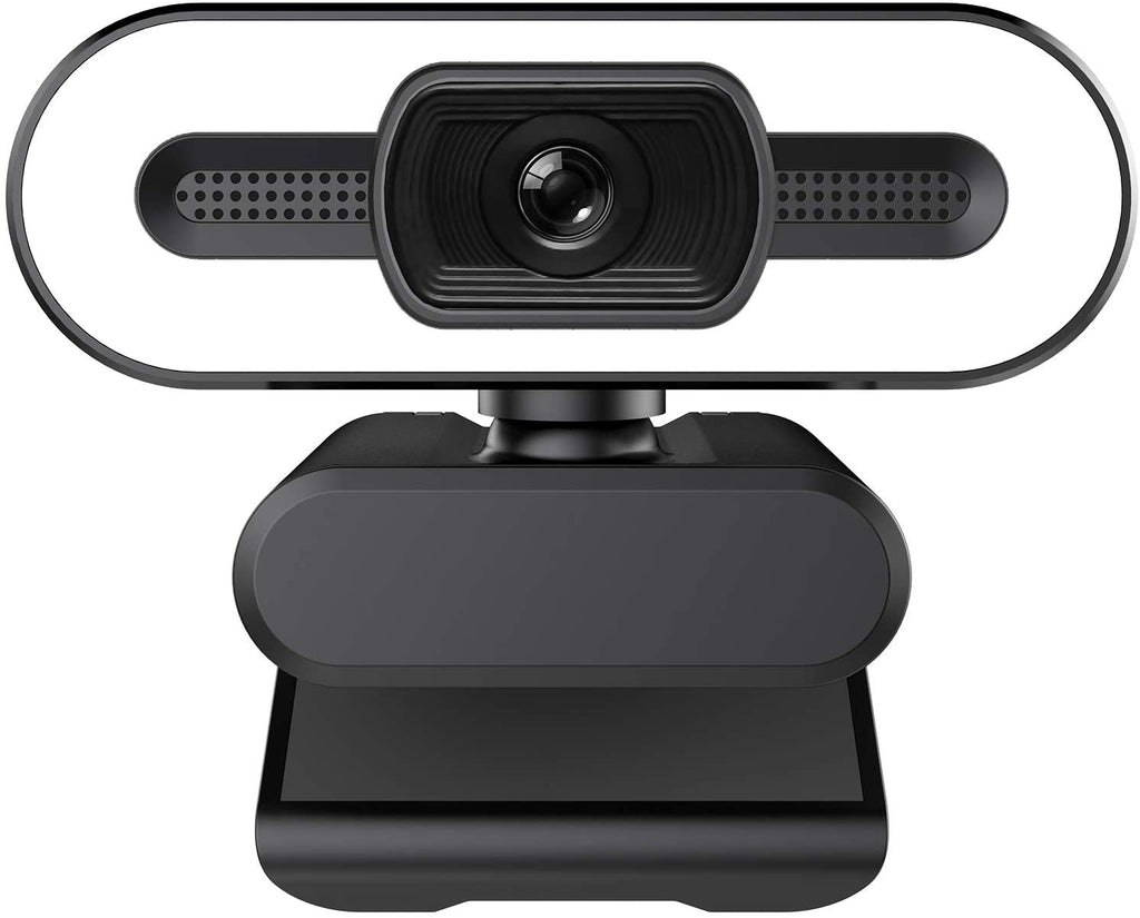 1080P HD Webcam with Ring Light and Microphone, Auto Focus