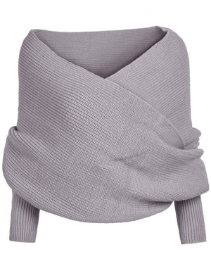 Crochet Knitted Scarf Shawl with Sleeves - Broadwaytrends shop