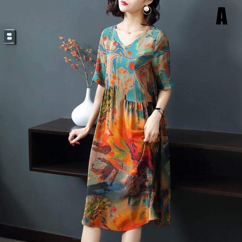 Luxury Genuine Silk Soft Dress - Broadwaytrending Shop