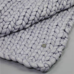 Fashion Hand Chunky Wool Knitted Blanket Thick Yarn Merino Wool Bulky Knitting Throw Blankets Chunky Knit Blanket