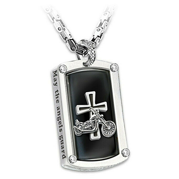 """Biker's Blessing"" Engraved Pendant Necklace"