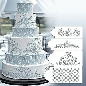 Cake Lace Decoration Stencil Set (4 Styles Included)