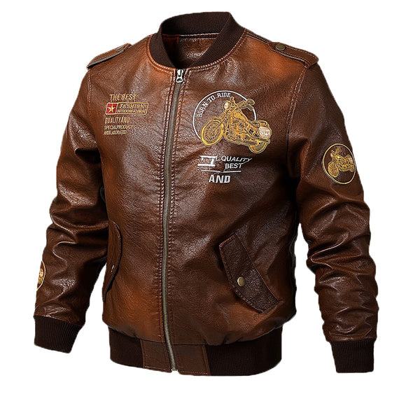 2020 fashion Men's Leather Jackets and Coats Male Motorcycle Leather Jacket Casual Slim Brand Clothing V-Neck Collar Coats