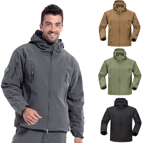 Men's Classic Jacket Fleece Lining Warm Waterproof Winter Autumn Outdoor Coat Hunting Hiking Camping Perfect Match Clothes