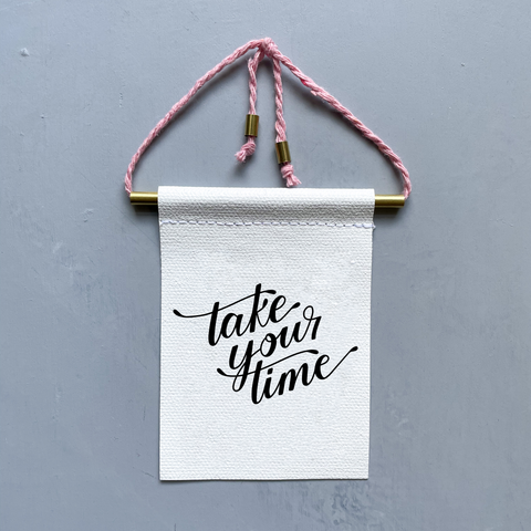 Take Your Time Brass and String Hanging Banner