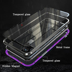 iPhone Series Electronic Auto-Fit (Front+ Back) Glass Magnetic Case