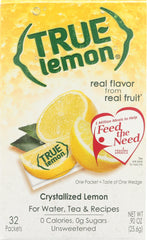 TRUE LEMON: Crystallized Lemon 32 Packets, 0.9 oz