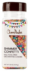 CHOCOMAKER: Shimmer Confetti Multicolored Decorating Candies, 2.60 oz